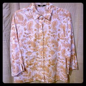 Liz Claiborne linen button up w/paisley design